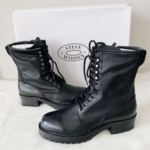 ✨New STEVE MADDEN Rockey Leather Lace Up Zip Boots